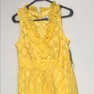 NWT-Studio One Yellow Ruffle Sleeveless Dress s10